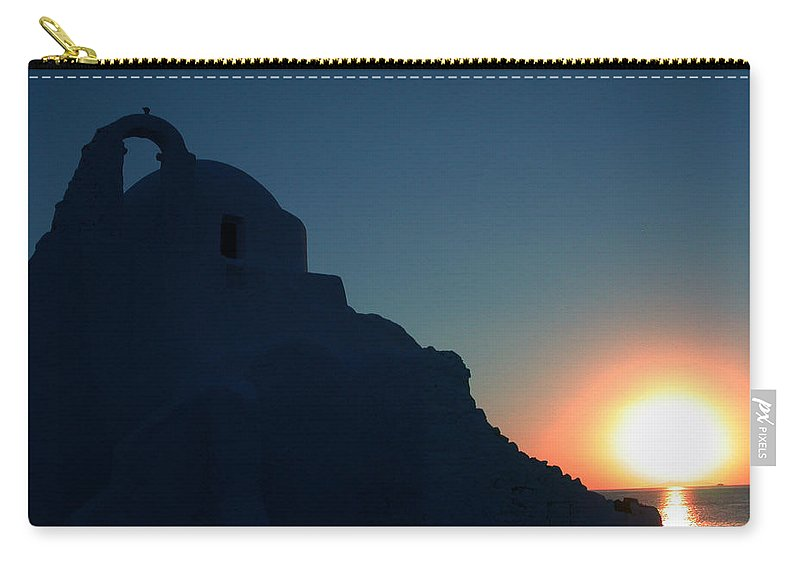 Colette Carry-all Pouch featuring the photograph Ancient Old Chapel Mykonos Island Sunset  Greece by Colette V Hera Guggenheim