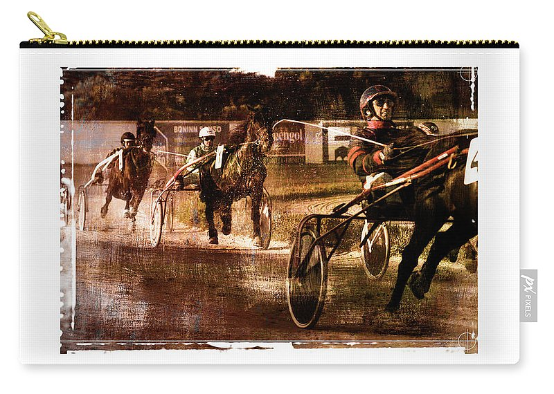 Horse Carry-all Pouch featuring the photograph and the winner is - A vintage processed Menorca trotting race by Pedro Cardona Llambias