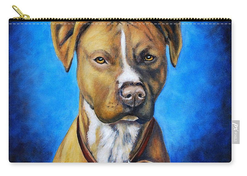 Dog Carry-all Pouch featuring the painting American Staffordshire Terrier Dog Painting by Michelle Wrighton