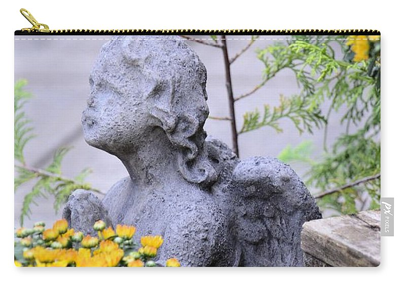 Angel Carry-all Pouch featuring the photograph Angel Of The Garden by Maria Urso