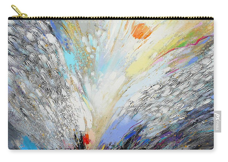 Original Art Carry-all Pouch featuring the painting Angels Presence - Square Painting by Petia Papazova