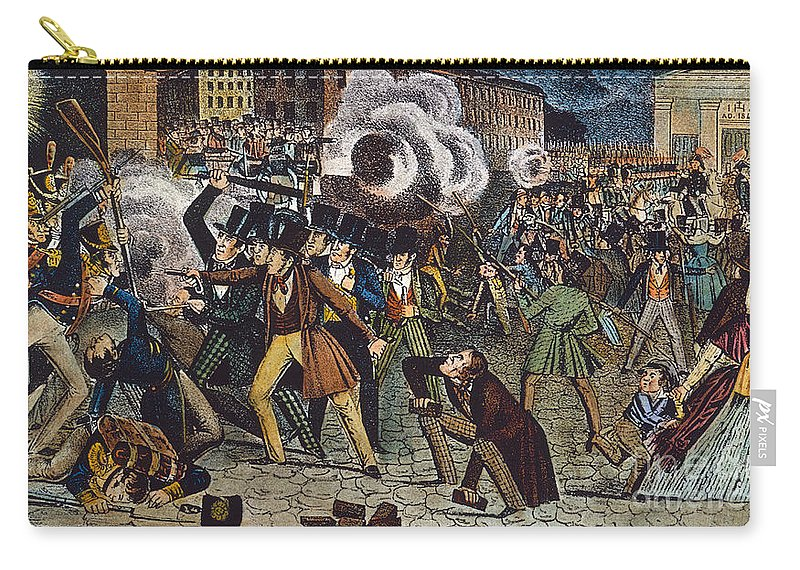 1844 Carry-all Pouch featuring the photograph Anti-catholic Mob, 1844 by Granger