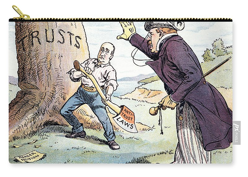1904 Carry-all Pouch featuring the photograph Anti-trust Cartoon, 1904 by Granger