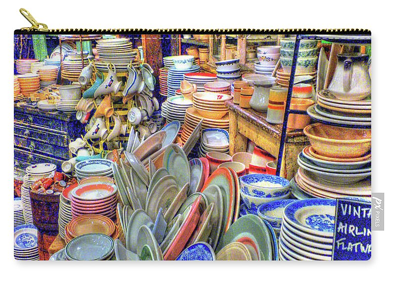 Fishs Eddy Carry-all Pouch featuring the photograph Antique Dishes Fishs Eddy New York by Dave Mills