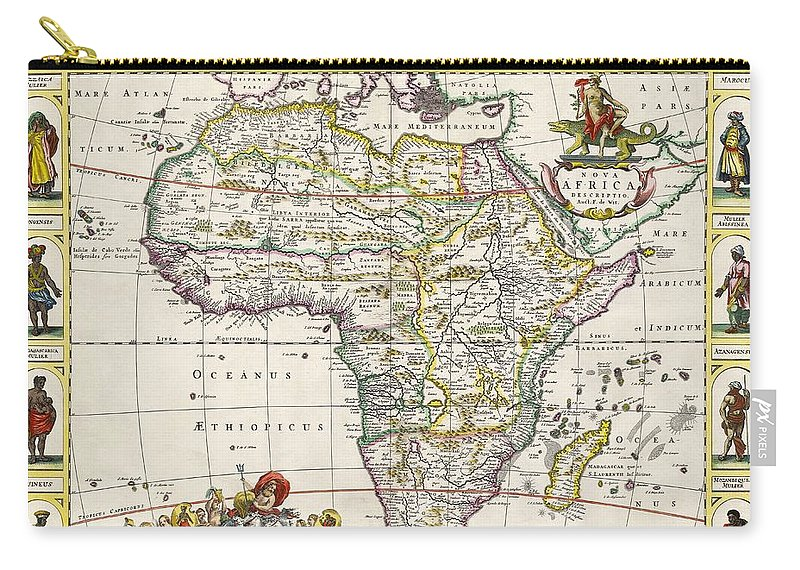 Map Of Africa Carry-all Pouch featuring the drawing Antique Map Of Africa by Dutch School