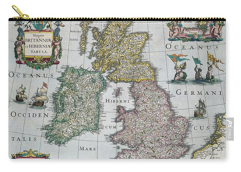 Maps Carry-all Pouch featuring the drawing Antique Map Of Britain by English School