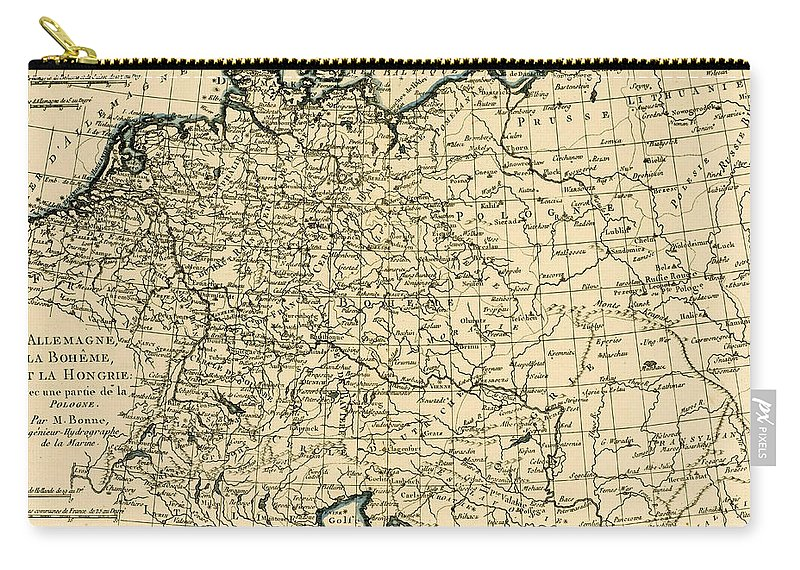 Antique Map Of Germany Bohemia And Hungary With Part Of Poland Carry-all  Pouch
