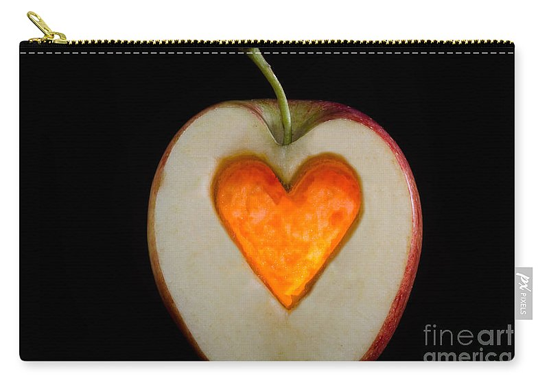 Apple Carry-all Pouch featuring the photograph Apple With A Heart by Mats Silvan