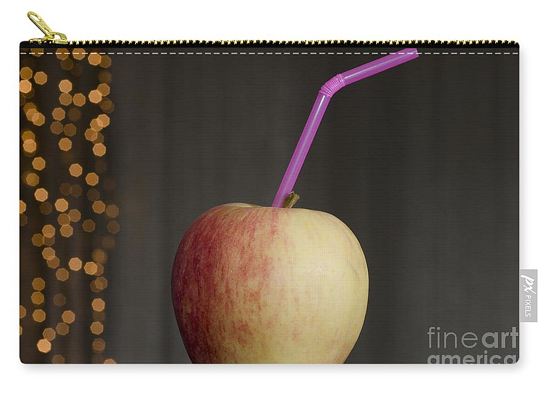 Apple Carry-all Pouch featuring the photograph Apple With Straw by Mats Silvan