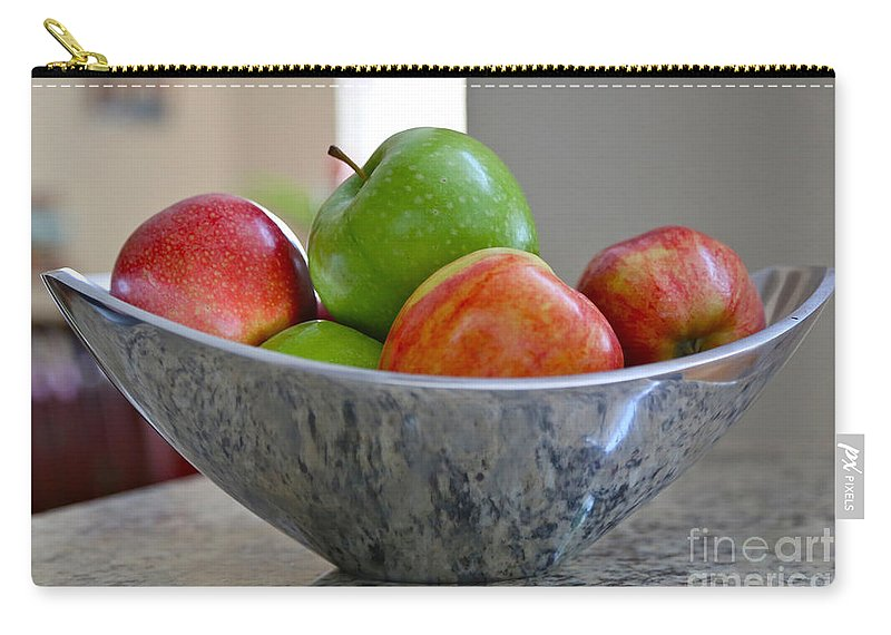 Apples Carry-all Pouch featuring the photograph Apples In Fruit Bowl by Carol Groenen