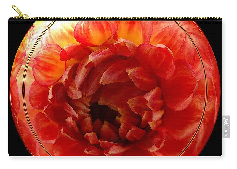 Dahlia Carry-all Pouch featuring the photograph Apricot Orange Dahlia Under Glass by Rose Santuci-Sofranko