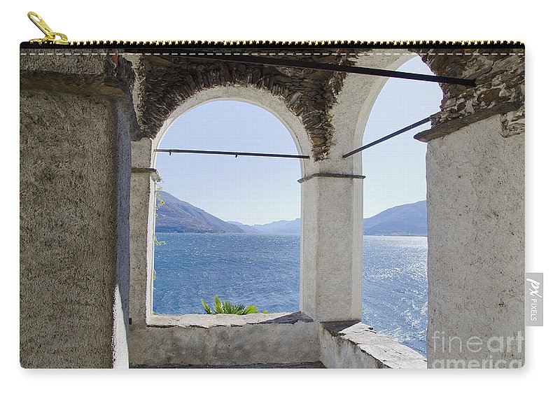Arch Carry-all Pouch featuring the photograph Arch And Lake by Mats Silvan