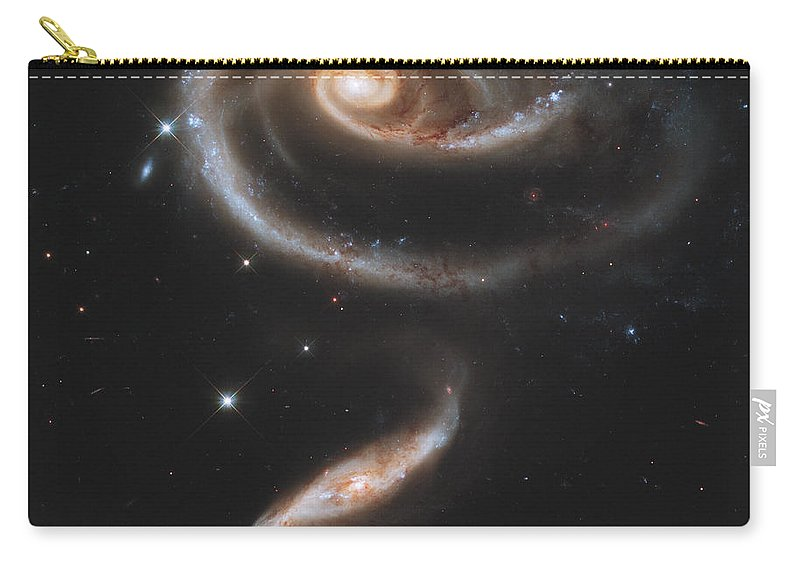 No People Carry-all Pouch featuring the photograph Arp 273 Interacting Galaxies by Stocktrek Images