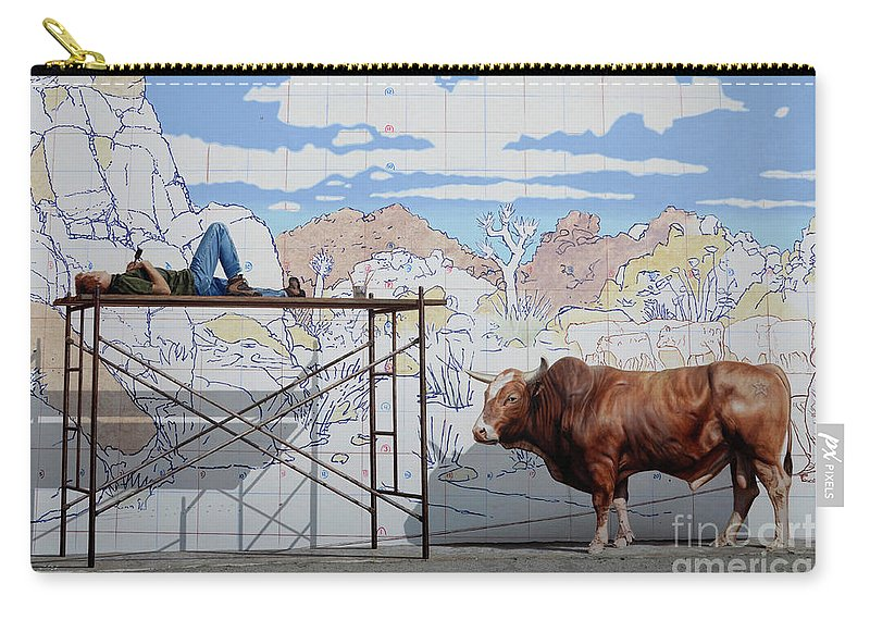Mural Carry-all Pouch featuring the photograph Artist At Work by Bob Christopher