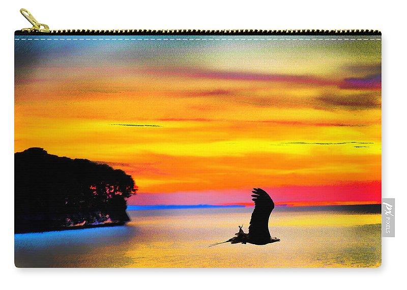 Eagle Sundown Carry-all Pouch featuring the photograph Artistic Conception Eagle Sundown by Randall Branham