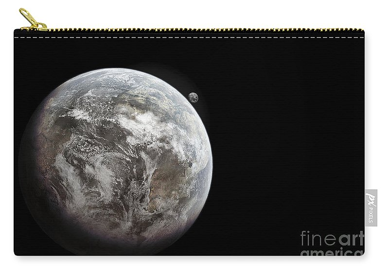 Outer Space Carry-all Pouch featuring the digital art Artists Concept Of Earth As A Lifeless by Tomasz Dabrowski