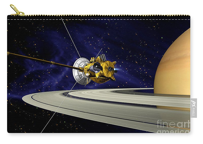 Saturn Orbit Insertion Carry-all Pouch featuring the photograph Artwork Of Cassini During Soi Maneuver by Nasa