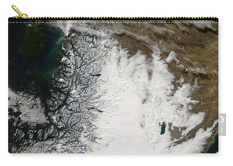 Argentina Carry-all Pouch featuring the photograph Ash Plume From Chaiten Volcano And Snow by Stocktrek Images