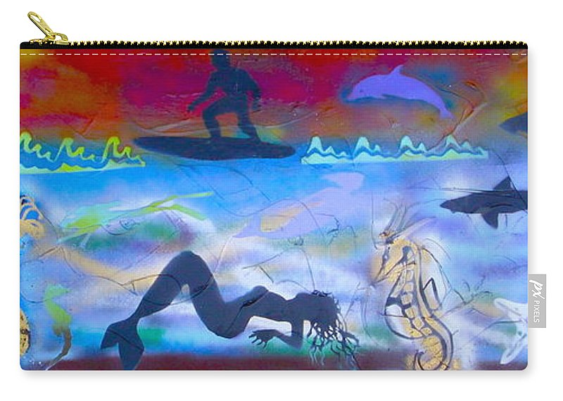 Mermaid Carry-all Pouch featuring the painting At Sea by Tony B Conscious