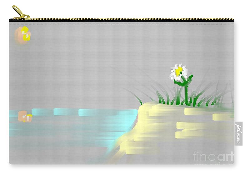 Flower Carry-all Pouch featuring the painting At The Beach by George Pedro