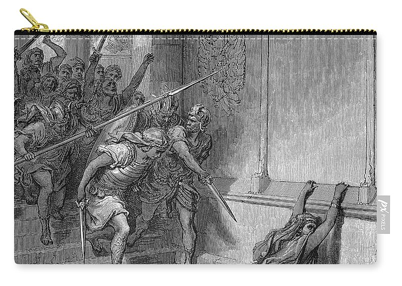 836 Bc Carry-all Pouch featuring the photograph Athaliah (d. 836 B.c.). /nqueen Of Judah, C842-836 B.c. The Death Of Athaliah (ii Chronicles 22:10, 23:15). Wood Engraving, 19th Century, After Gustave Dor� by Granger