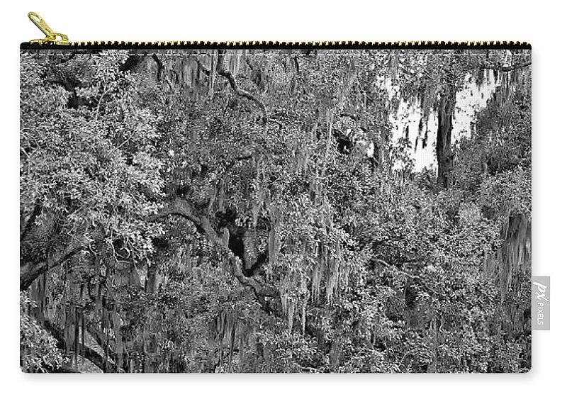 New Orleans Carry-all Pouch featuring the photograph Audubon Park 2 Monochrome by Steve Harrington