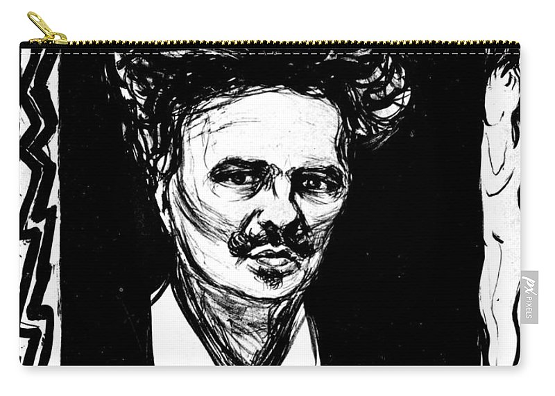1896 Carry-all Pouch featuring the photograph August Strindberg by Granger