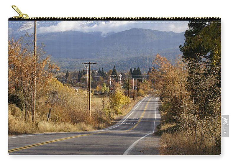 Mt Shasta Carry-all Pouch featuring the photograph Autumn And Mt Shasta Down The Road by Mick Anderson