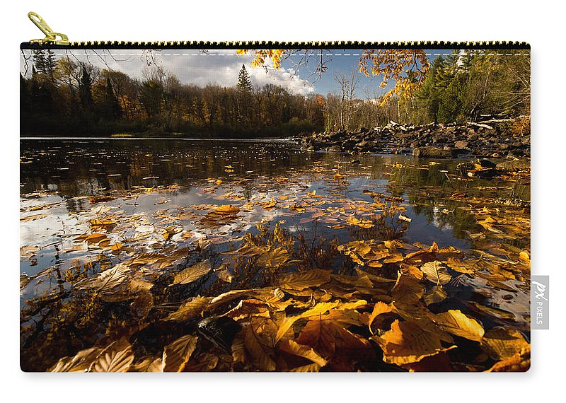 Algonquin Carry-all Pouch featuring the photograph Autumn At Ragged Falls by Cale Best