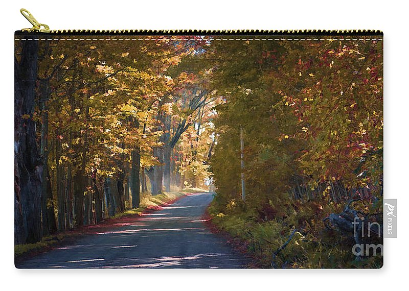 Autumn Carry-all Pouch featuring the photograph Autumn Country Road - Oil by Edward Fielding