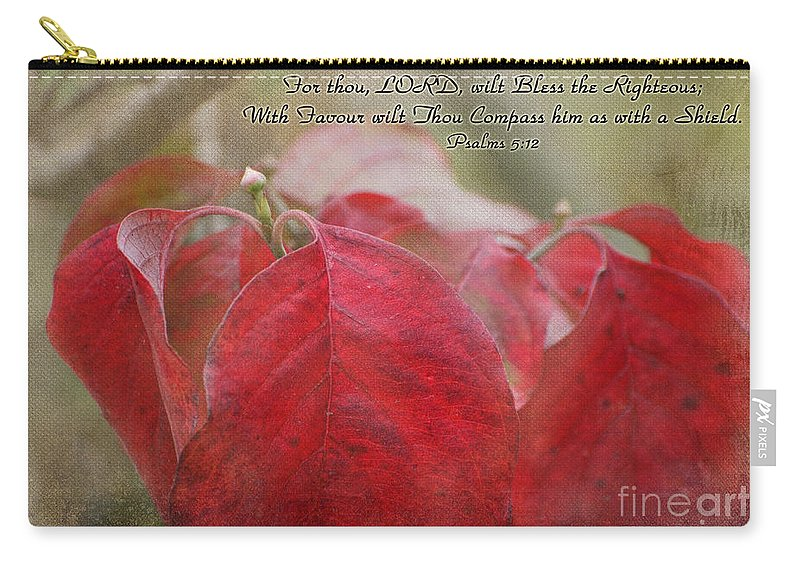 Nature Carry-all Pouch featuring the photograph Autumn Dogwood Leaves With Verse by Debbie Portwood