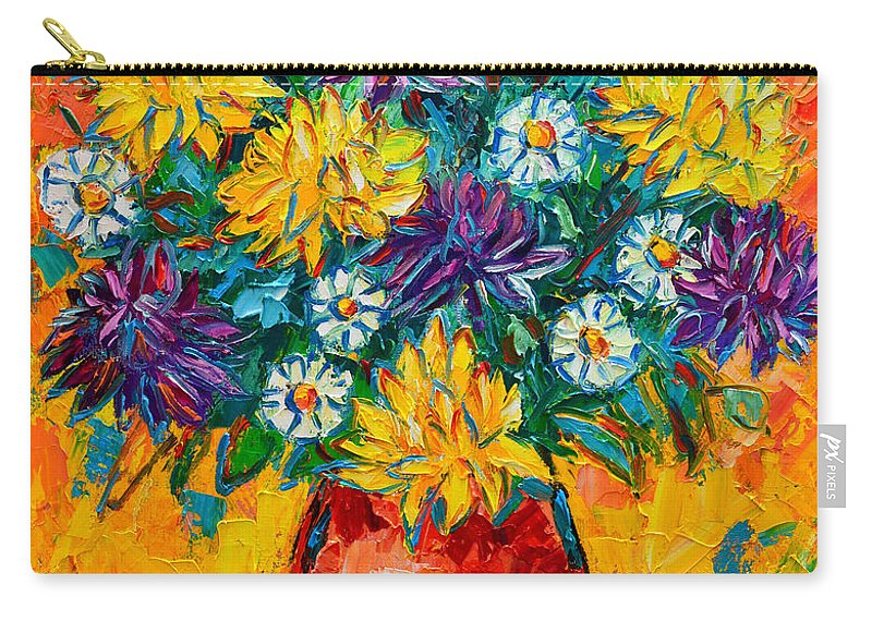 Chrysanthemums Carry-all Pouch featuring the painting Autumn Flowers Gorgeous Mums - Original Oil Painting by Ana Maria Edulescu