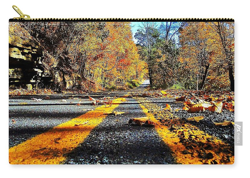 Road Carry-all Pouch featuring the photograph Autumn Highway by Benjamin Yeager