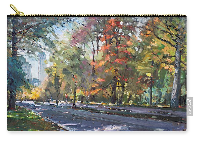 Niagara Falls Carry-all Pouch featuring the painting Autumn In Niagara Falls Park by Ylli Haruni