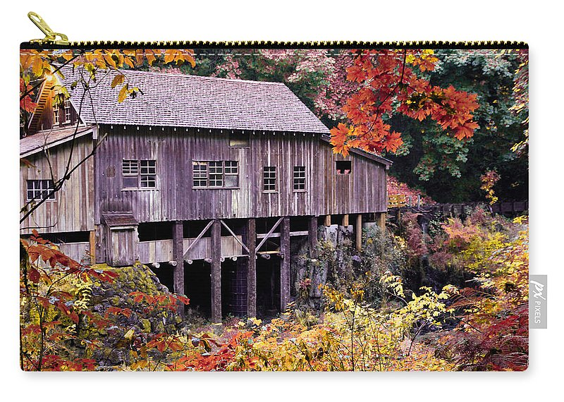 Cedar Creek Grist Mill Carry-all Pouch featuring the photograph Autumn Is In The Air by Athena Mckinzie
