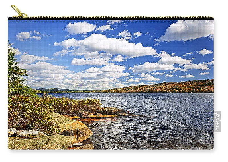 Lake Carry-all Pouch featuring the photograph Autumn Lake Shore by Elena Elisseeva