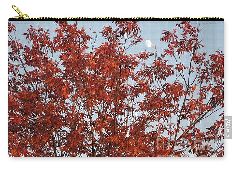 Red Brown Leaves Carry-all Pouch featuring the photograph Autumn Moon by Sonali Gangane