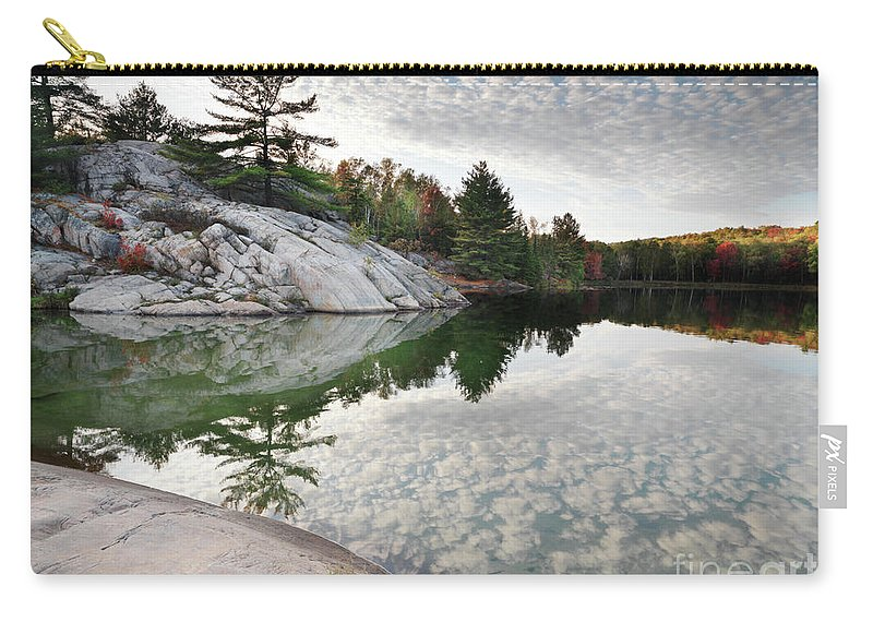 Lake Carry-all Pouch featuring the photograph Autumn Nature Lake Rocks And Trees by Oleksiy Maksymenko