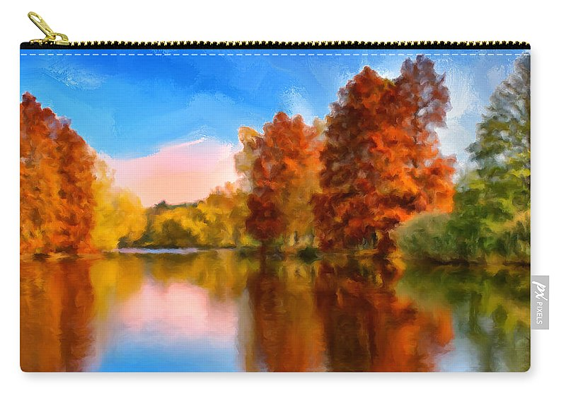 Autumn Carry-all Pouch featuring the painting Autumn On The Lake by Dominic Piperata