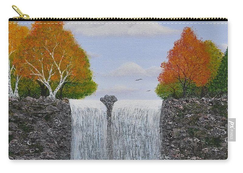 Autumn Landscape Carry-all Pouch featuring the painting Autumn Waterfall by Georgeta Blanaru