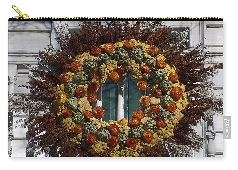 Large Wreath Carry-all Pouch featuring the photograph Autumn Wreath by Sally Weigand