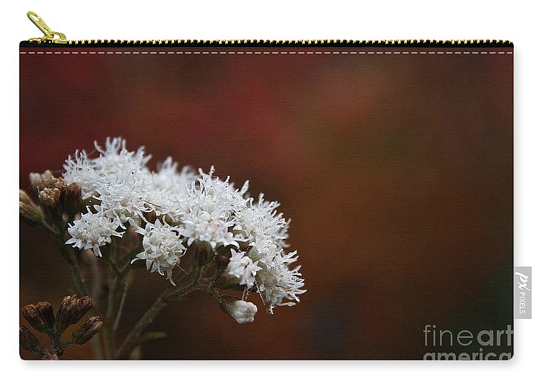 Flower Carry-all Pouch featuring the photograph Autumn's Own Snow by Susan Herber