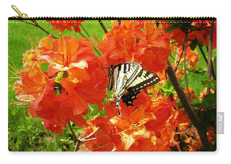 Orange Azalea Carry-all Pouch featuring the photograph Azalea And Butterfly 1 by Sherman Perry