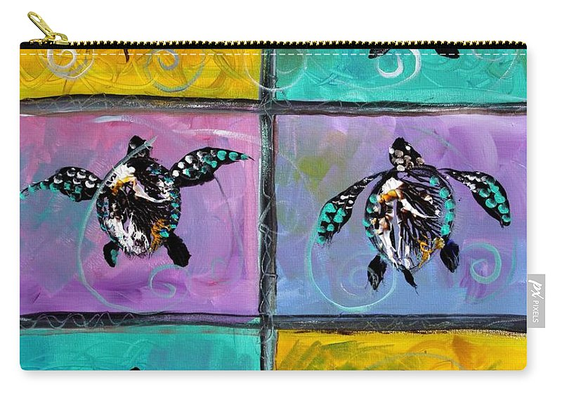 Sea Turtles Carry-all Pouch featuring the painting Baby Sea Turtles Six by J Vincent Scarpace