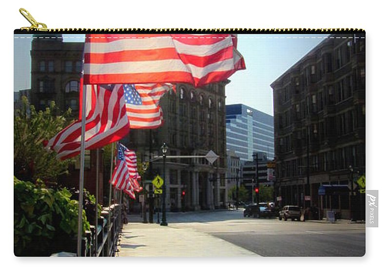 Milwaukee Carry-all Pouch featuring the photograph Backlit Flag by Anita Burgermeister