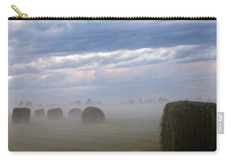 Farm Carry-all Pouch featuring the photograph Bails In Fog by Leanne Karlstrom