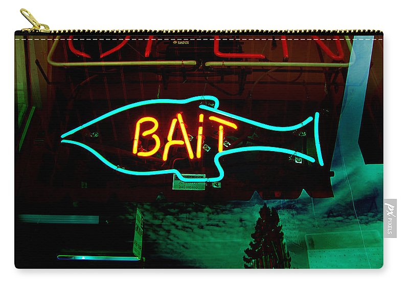 Store Sign Carry-all Pouch featuring the photograph Bait by Kathleen Grace