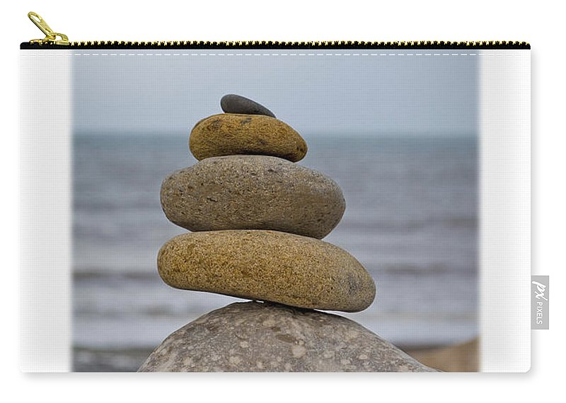 Pebbles Carry-all Pouch featuring the photograph Balancing Pebbles by Mal Bray