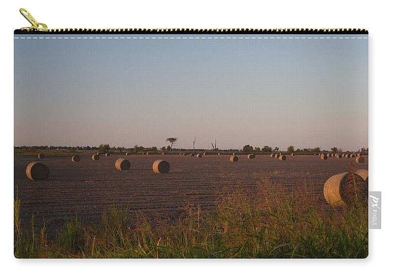 Peanut Carry-all Pouch featuring the photograph Bales In Peanut Field 1 by Douglas Barnett