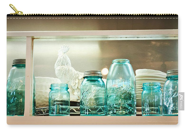 Blue Carry-all Pouch featuring the photograph Ball Jars And White Rooster by Paulette B Wright